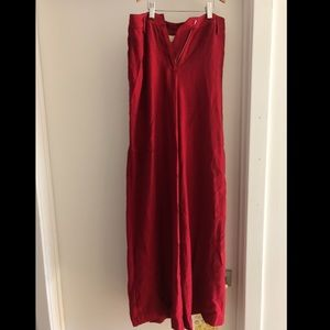 MaEVE by Anthropologie Red Linen Wide-Fit Pants